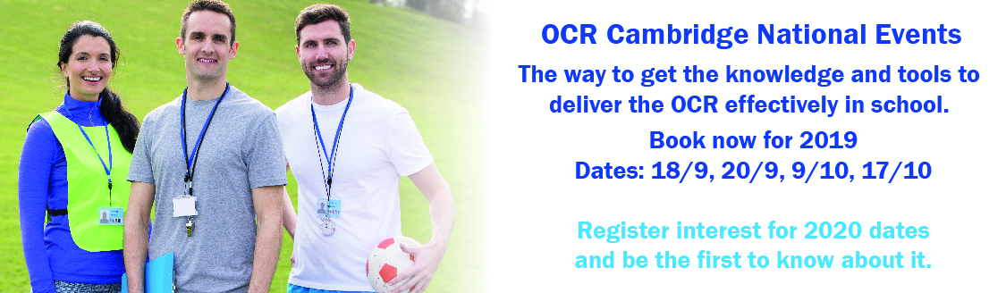 Cambridge National OCR Events 2020 Register Interest